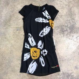 Desigual Daisy Flower Black Sheer Mini Dress